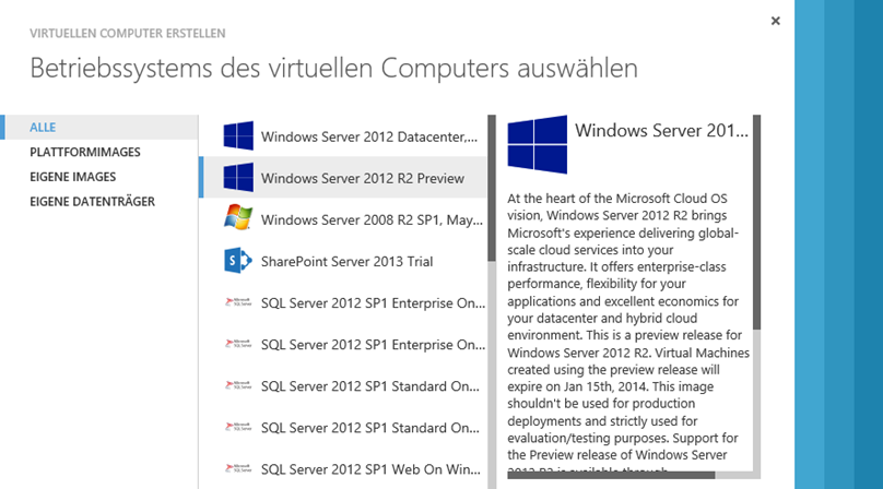 Windows Server 2012 R2 auf Windows Azure